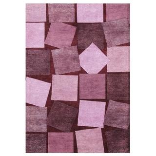 Alliyah Handmade Carmine Rose Wool Rug (5' x 8')