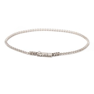 Pori 10k White Gold Genuine Topaz Tennis Bracelet