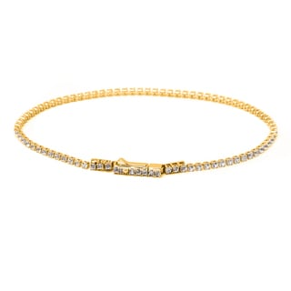Pori 10k Yellow Gold White Topaz Tennis Bracelet