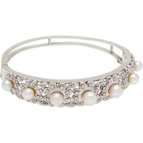 14k White Gold 1ct TDW Diamond Freshwater Pearl Flower Motif Estate Bangle (H-I, SI1-SI2) (5-7mm)