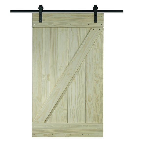 Unfinished Pine Z Design Wood Barn Door Kit (32x80)