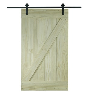 Unfinished Pine Z Design Wood Barn Door Kit (30x80)
