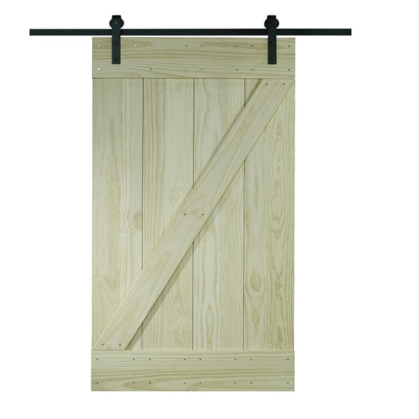 Unfinished Pine Z Design Wood Barn Door Kit 30x80 Free Shipping Today 10429079