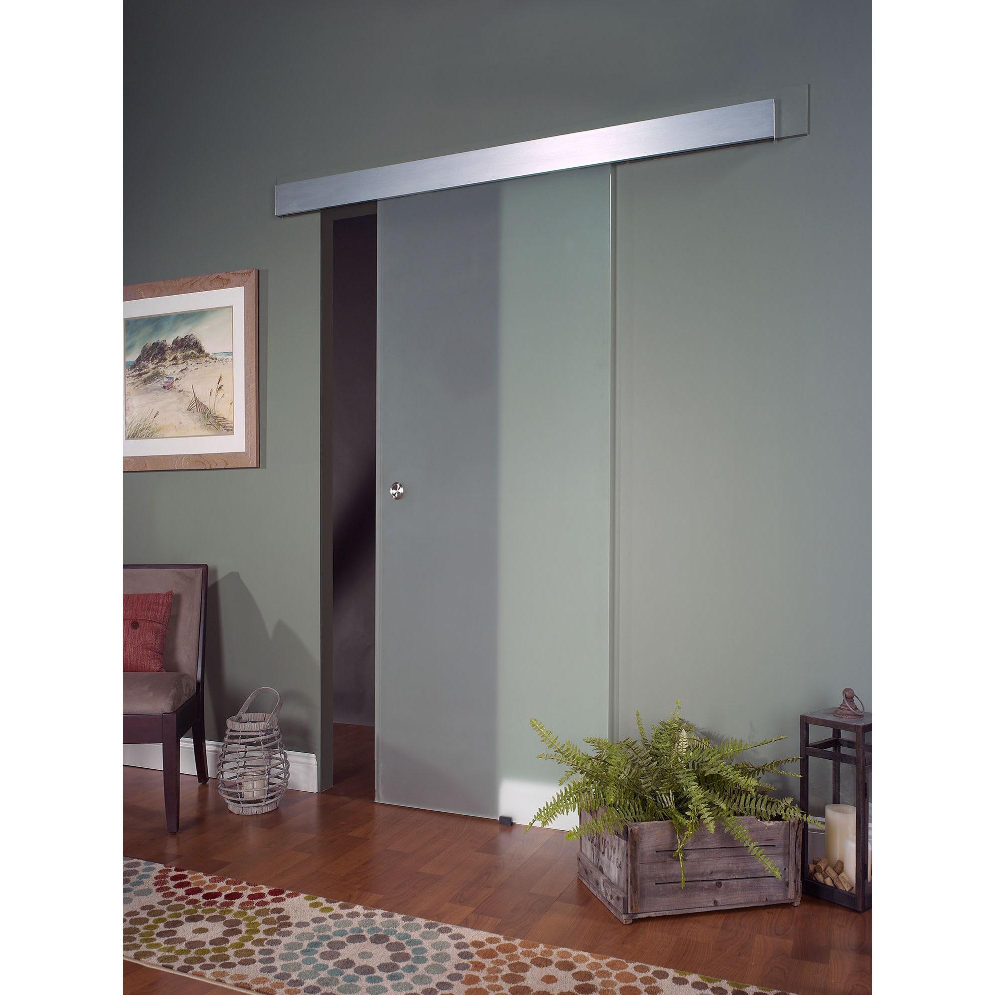 Opaque Glass Barn Door 32x80 Clear Overstock 10429082