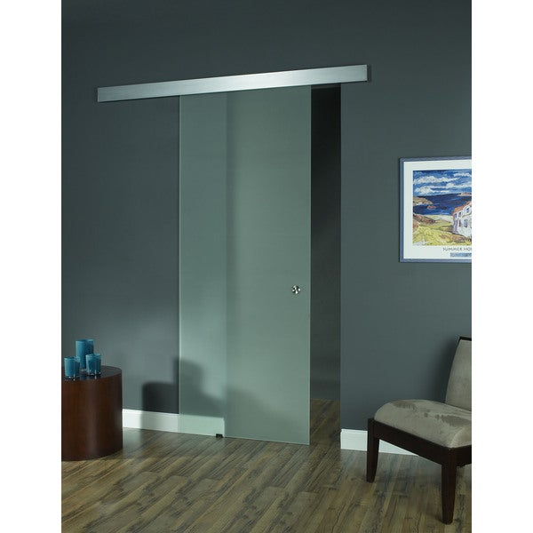 Shop Opaque Glass Barn Door 36x96 Free Shipping Today