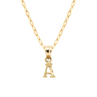 pori 10k yellow gold diamond cut initial pendant necklace