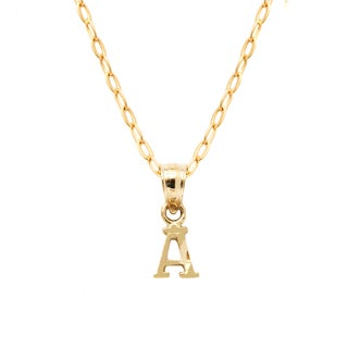 Pori Yellow Gold Diamond-cut Initial Pendant Necklace