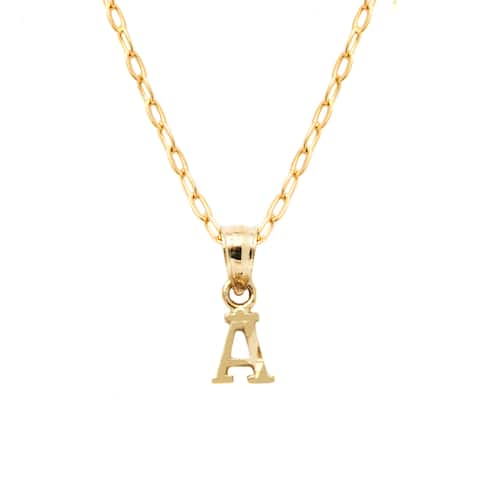 Pori 10k Yellow Gold Diamond-cut Initial Pendant Necklace
