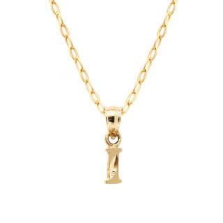 Pori Yellow Gold Diamond-cut Initial Pendant Necklace (More options available)