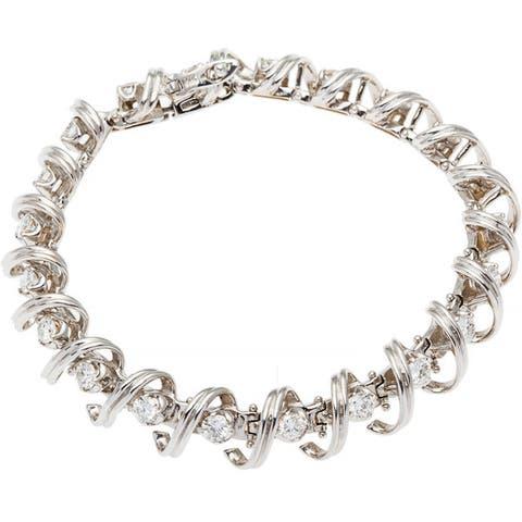 14k White Gold 4ct Spiral Link Diamond Estate Tennis Bracelet