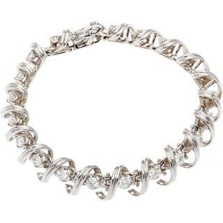 14k White Gold 4ct TDW Spiral Link Diamond Estate Tennis Bracelet (G-H, SI1-SI2)