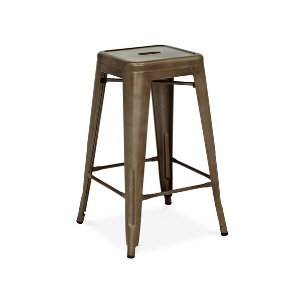 Shop Amalfi Stackable Rustic Matte Steel Counter Stool 26