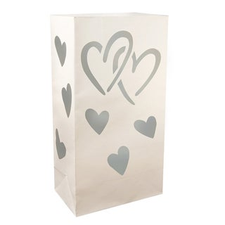 Luminaria Bags Silver Hearts (24 Count)