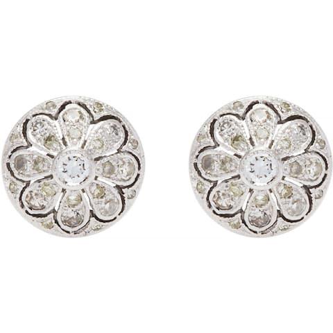 14k White Gold 1/3ct TDW Round Diamond Flower Stud Estate Earrings (H-I, SI1-SI2)