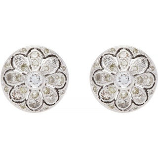 14k White Gold 1/3ct TDW Round Diamond Flower Stud Estate Earrings (H-I, SI1-SI2)