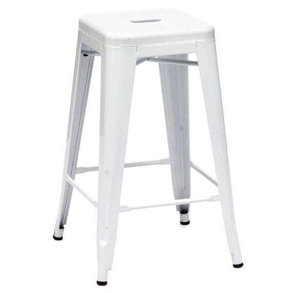Amalfi Stackable Glossy White Steel Counter Stool Set Of