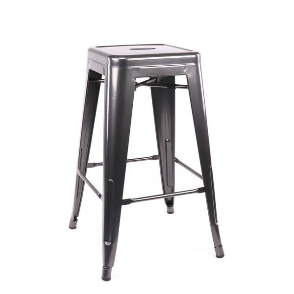 Shop Amalfi Stackable Dark Gunmetal Steel Counter Stool