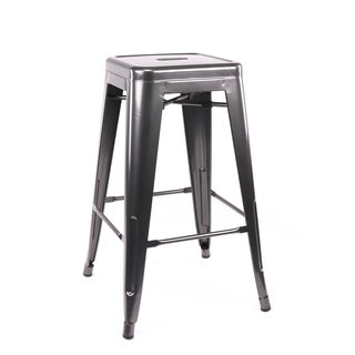 Amalfi Stackable Dark Gunmetal Steel Counter Stool (Set of 4)