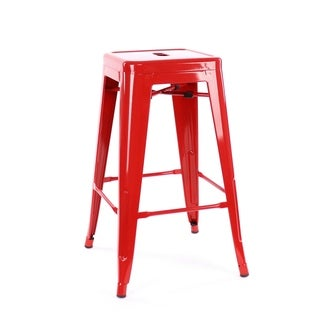 Amalfi Stackable Glossy Red Steel Counter Stool (Set of 4)