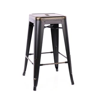 Amalfi Stackable Vintage Matte Black/ Gold Steel 26-inch Counter Stool (Set of 4)