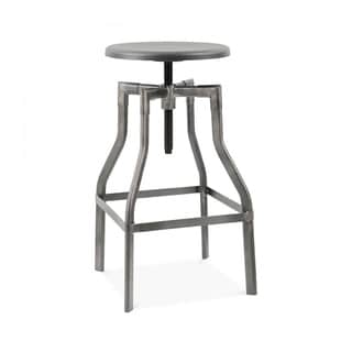 Machinist Clear Gunmetal and Wood Seat Adjustable Steel 26-inch to 32-inch Barstool