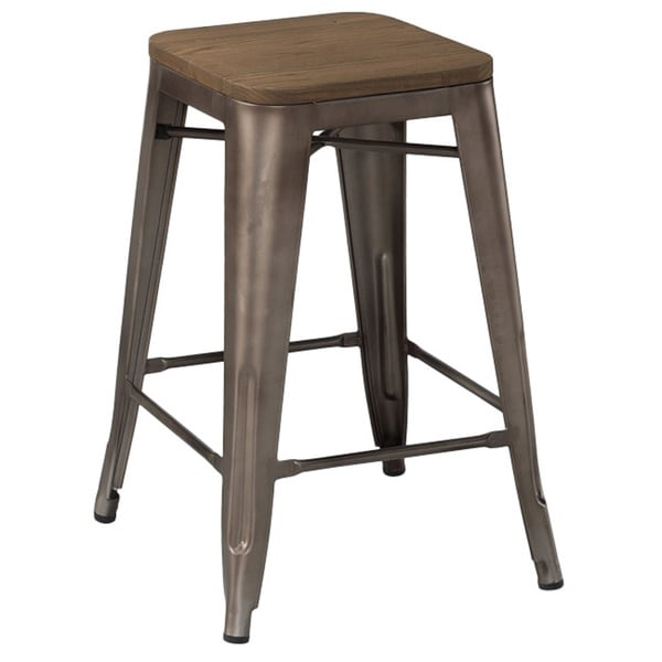Amalfi Stackable Rustic Matte And Elm Wood Seat 26 Inch