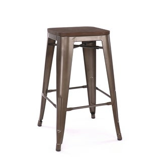 Amalfi Stackable Rustic Matte Elm Wood Seat 26-inch Steel Counter Stool (Set of 4)