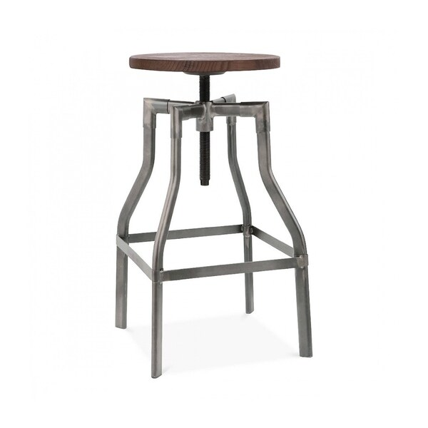Shop Machinist Gunmetal Wood Adjustable Barstool 26 32 Inch Free
