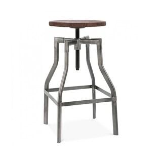 Machinist Gunmetal Wood Adjustable Barstool 26-32 Inch