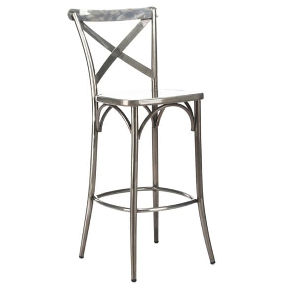 Cross Back Clear Gunmetal Steel High Back 30 Inch Barstool