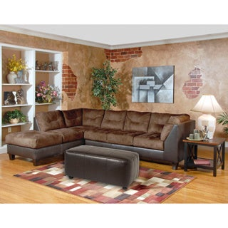 Marinio Chocolate Brown Microfiber And Faux Leather Left Chaise Sectional  Sofa Part 87