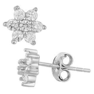 Fremada Rhodium Plated Sterling Silver and Cubic Zirconia Flower Stud Earrings