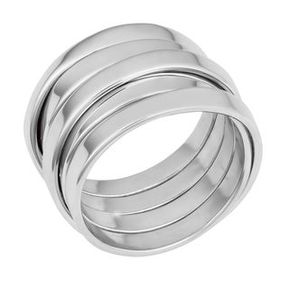 Fremada Rhodium Plated Sterling Silver High Polish Stackable Design Ring