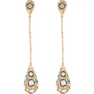 18k Yellow Gold 3ct TDW Champagne Diamond Estate Long Drop Earrings