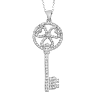 Fremada Sterling Silver And Cubic Zirconia Clover Key Pendant Necklace