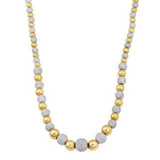 Fremada 14k Two Tone Gold Alternate High Polish And Laser Finish Bead Necklace