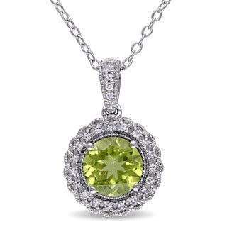 Miadora Sterling Silver Peridot and 1/10ct TDW Diamond Necklace (G-H, I2-I3)