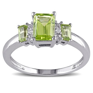 Link to Miadora 10k White Gold Peridot and Diamond Accent Three Stone Ring Similar Items in Rings