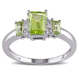 Miadora 10k White Gold Peridot And Diamond Accent Three Stone Ring