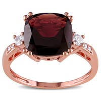Miadora 10k Rose Gold Multi-gemstone and Diamond Accent Cocktail Ring - Red