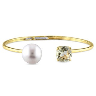 Miadora Yellow Silver Freshwater Pearl and Lemon Quartz Bangle bracelet