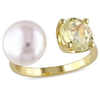 Miadora Yellow Silver Freshwater White Pearl and Lemon Quartz Ring