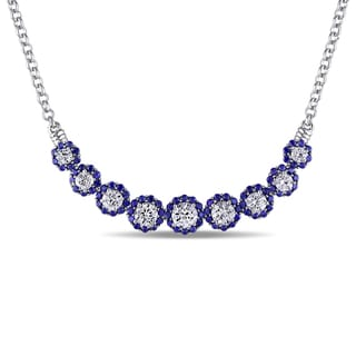 Miadora Sterling Silver Created White and Blue Sapphire Bar Necklace