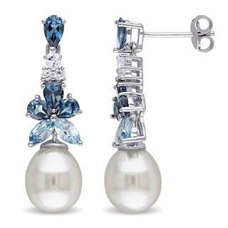 Miadora Sterling Silver Freshwater Pearl Multi-gemstone Earrings - Blue
