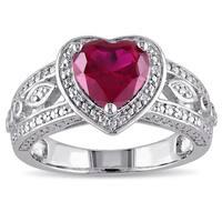 Miadora Sterling Silver Created Ruby 1/10ct TDW Diamond Ring (G-H, I2-I3)