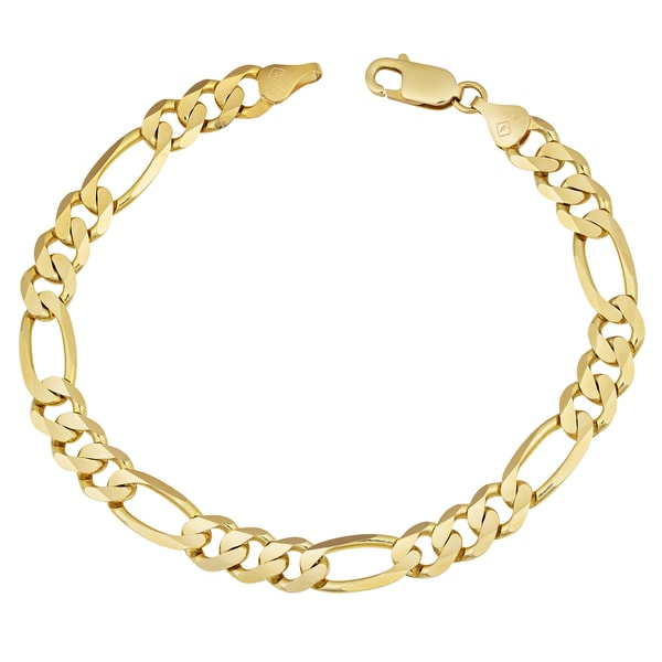 a454427f2 Fremada 14k Yellow Gold Men's High Polish Concave Figaro Bracelet (8.5