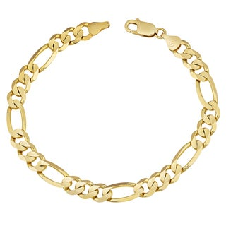 Fremada 14k Yellow Gold Men's High Polish Concave Figaro Bracelet (8.5 inches)