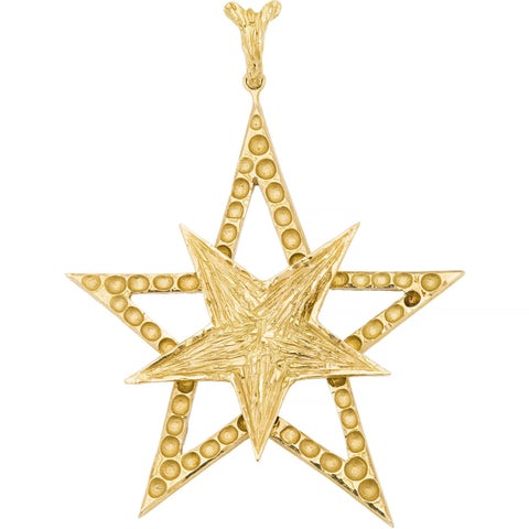 18k Yellow Gold Giant Five-point Star Estate Pendant