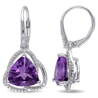 Miadora Sterling Silver Amethyst and Diamond Accent Dangle Earrings