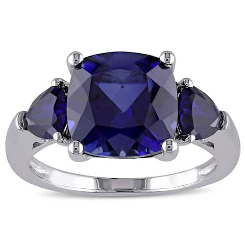 3-Stone Multi-Cut 7/10ct TGW Created Blue Sapphire Ring in Sterling Silver by Miadora